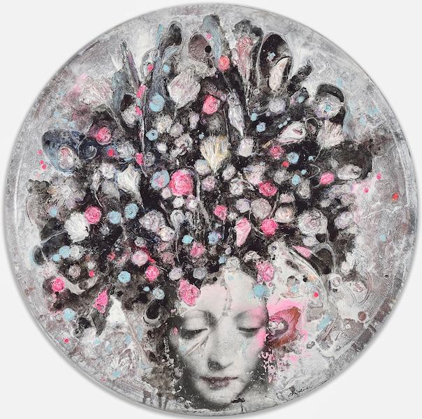 Ronde de fleurs<br /> 2016 Acrylique et transfert d'image sur toile.<br /> Lucie Chicoine