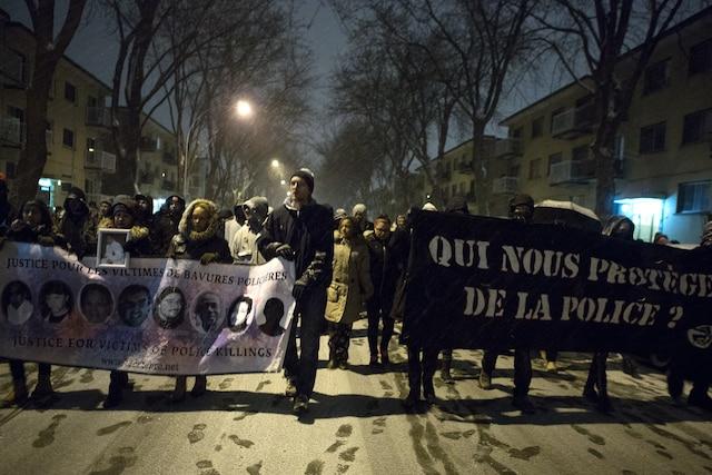Manifestation à Montréal-Nord.