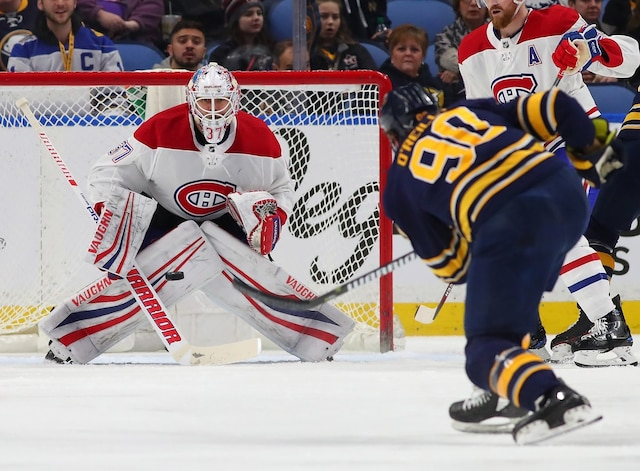 BUFFALO, NY - MARCH 23: Antti Niemi #37 of the Montreal Canadiens makes the save against Ryan O'Reilly #90 of the Buffalo Sabres during the first period at KeyBank Center on March 23, 2018 in Buffalo, New York.   Kevin Hoffman/Getty Images/AFP == FOR NEWSPAPERS, INTERNET, TELCOS & TELEVISION USE ONLY ==