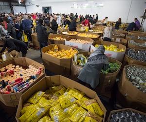 La Moisson de Noël regroupe 200 bénévoles et partenaires qui confectionneront les paniers de Noël devant être remis aux 137 000 bénéficiaires de l'organisme.