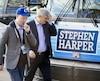 Le chef conservateur Stephen Harper était de passage à Mississauga, en Ontario.