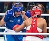 Ariane Fortin (en bleu) a perdu son combat contre la Kazakh Dariga Shakimova dimanche.