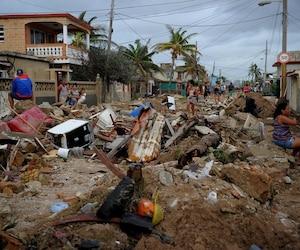 Cojimar, quartier d'Havana à Cuba après le passage de l'ouragan Irma.