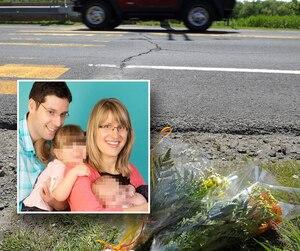 Mathieu Huet, 35 ans, père de trois jeunes enfants et conjoint d'Isabelle Bertrand (en mortaise), a été happé à mort par un véhicule alors qu'il faisait son jogging à Breakeyville, dimanche.