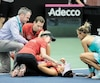 Aux prises avec de violentes crampes au mollet gauche, Bianca Andreescu a eu besoin d'assistance médicale durant son match l'opposant à Lesia Tsurenko, visiblement préoccupée par la condition de la Canadienne.