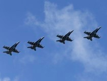 Canadian Air Task Force jets CF-188 fly over Siauliai air base