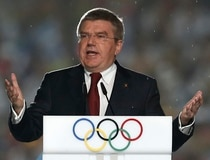 International Olympic Committee President Thomas Bach delivers a speech during the closing ceremony of the 2014 Nanjing Youth Olympic Games in Nanjing