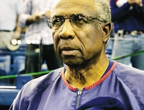Montreal Expos manager Frank Robinson during the anthems in Montreal