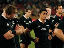 All Blacks' Fekitoa reacts at end of their Rugby Championship match against South Africa at Ellis Park stadium in Johannesburg