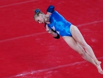 Canada's Elsabeth Black performs on the floor in the women's all-around Gymnastics final at the 2014 Commonwealth Games in Glasgow, Scotland