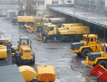 Snow ploughs are seen at Moscow's Vnukovo airport