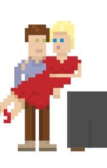 Pixel art style. Love. Vector illustration.