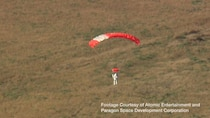 Handout of still image taken from video shows Google's vice president Alan Eustace returning to earth after a record-breaking skydive over New Mexico