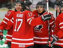 Canada's Reinhart celebrates his goal against the Czech Republic with teammates McDavid, Horvat and Dumba during the first period of their IIHF World Junior Championship ice hockey game in Malmo