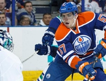 Edmonton Oilers play the Vancouver Canucks at Rexall Place in Edmonton