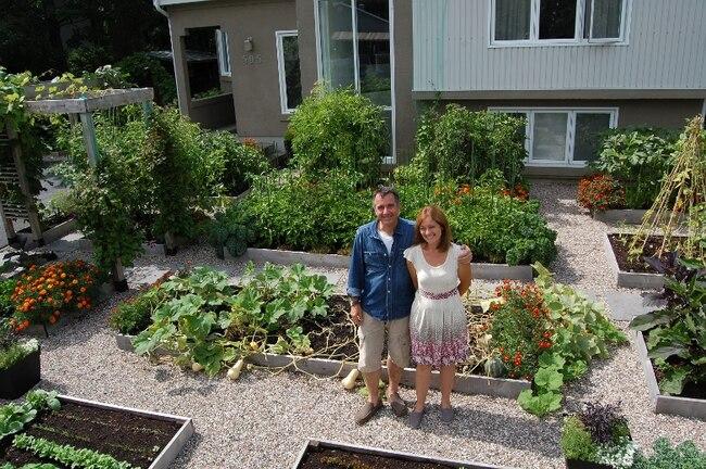 potager urbain un couple de drummondville troque sa pelouse avant pour un immense potager jdm. Black Bedroom Furniture Sets. Home Design Ideas