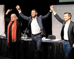 Les membres de Québec solidaire, dont le congrès s'est terminé dimanche à Longueuil, ont renouvelé leur confiance envers leurs co-porte-paroles, Manon Massé et Gabriel Nadeau-Dubois. Sur scène, ils ont fait monter leur candidat dans Jean-Talon, Olivier Bolduc.