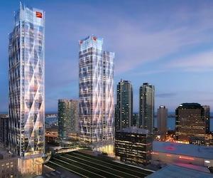 Le siège social mondial de la Banque CIBC sera le premier locataire d'envergure du Bay Park Centre, dont la première pelletée de terre devrait être levée en juin. Illustration courtoisie