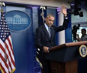 Le président Barack Obama a salué les journalistes auxquels il s'adressait hier lors de la dernière conférence de presse qu'il donnait à la Maison-Blanche, en leur souhaitant «bonne chance», à deux jours de l'arrivée en poste de Donald Trump.