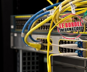 yellow network wires in a switch