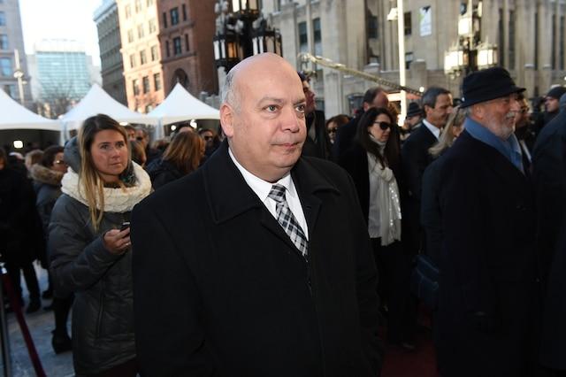 Robert Poëti lors de l'entrée des invités aux funérailles de René Angelil, célébrées ce vendredi après-midi 22 janvier 2016, à la Basilique Notre-Dame, à Montréal.