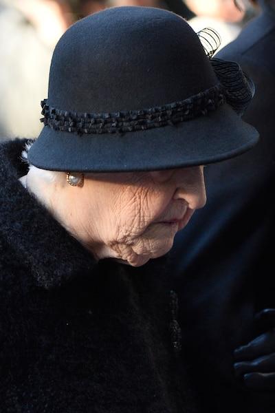 Thérèse Dion lors des funérailles de René Angelil, célébrées ce vendredi après-midi 22 janvier 2016, à la Basilique Notre-Dame, à Montréal.