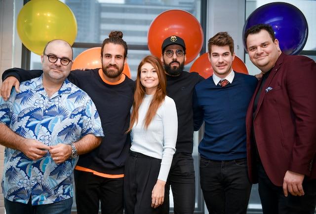 (De gauche à droite) Laurent Paquin, Jay Du Temple, Katherine Levac, Adid Alkhalidey, Julien Lacroix et Philippe Laprise