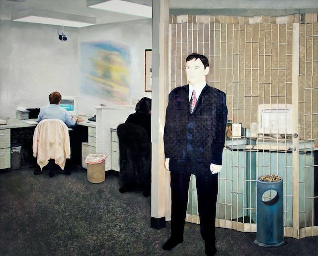 <b><i>Agence</i></b><br /> <b>2007-2010 – huile sur lin – 265cm x 330cm</b><br /> Des tableaux qui traduisent une préoccupation fondamentale de l'humain qui s'est accentuée depuis l'ère industrielle. Œuvre de Louis-Philippe Côté.