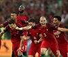 Les joueurs du Portugal ont célébré leur victoire contre la Pologne et une autre présence dans le carré d'as de l'Euro.