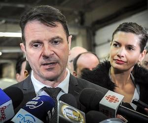 Le ministre des Transports, François Bonnardel, en compagnie de la ministre de la Sécurité publique, Geneviève Guilbault