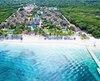 L'Allegro Cozumel vu des airs, avec ses 42 bungalows, sa belle plage et son quai pour partir directement en excursion de plongée sous-marine
