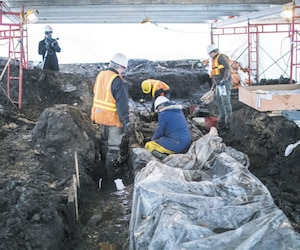 Le chantier archéologique est recouvert par un abri qui protège les vestiges du gel.