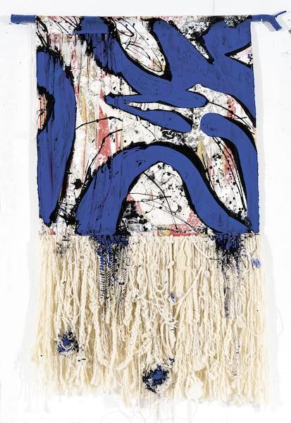 <strong><em>IMAGINE I</em></strong><br> <strong>2017 - Encre, acrylique et papier de riz sur rideaux (provenant de la célèbre chambre1742 de l'hôtel Le Reine Elizabeth), fibres et bois - 86'' X 60''</strong><br> Une démarche unique et un regard nouveau à des artefacts riches d'inspiration.<br> Œuvre de Michel Beaucage - Collaboration Nathalie Poteet et Annie Legault. Photo Guy L'Heureux