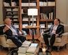 Le premier ministre de l'Ontario Doug Ford et le premier ministre du Québec François Legault, lors d'un entretien, vendredi.