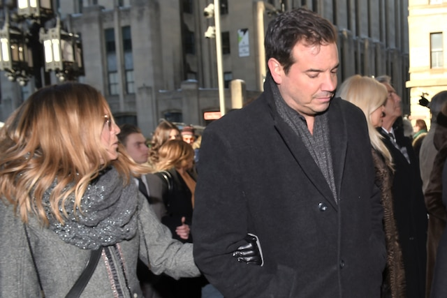 Sophie Prégent et Charles Lafortune lors de l'entrée des invités aux funérailles de René Angelil, célébrées ce vendredi après-midi 22 janvier 2016, à la Basilique Notre-Dame, à Montréal.