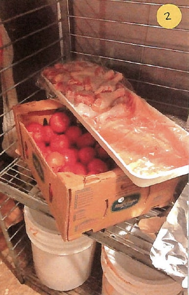 Poulet cru entreposé sur une boîte de tomates.