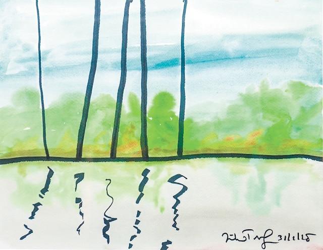 <b>Aquarelle – 2018</b><br /> L'auteur peint presque tous les jours en hiver, alors qu'il réside à Key West en Floride.