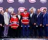 Le commissaire de la LNH, Gary Bettman, et l'état-major du Canadien ont accueilli Mikhail Sergachev sur l'estrade. Le joueur des Spitfires de Windsor a été sélectionné au neuvième rang.