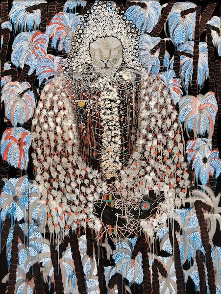<b><i>Afrique, Pillage, Arbres, Richesse</i></b><br /> <b>2014 - Huile, gouache, encre, crayon sur carton ondulé</b><br /> Un mélange d'actualité, de bestiaire fantastique et de traditions africaines. Une métaphore de la domination économique du continent.  Œuvre d'Omar Ba (né en 1977) - Londres, collection particulière/Hales Gallery.