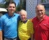 Le golfeur de Saint-Georges, Max Gilbert, et le lieutenant-gouverneur du Québec, J. Michel Doyon, ont été accueillis par le professionnel du club Saint-Georges, Mario Fecteau.