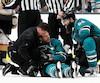 Sonné après avoir été renversé sur la glace, Joe Pavelski a reçu l'aide de Brent Burns pour quitter la patinoire. Selon Marc-Édouard Vlasic, Pavelski a félicité ses coéquipiers dans le vestiaire après leur victoire en prolongation.