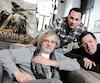 Le réalisateur de Hochelaga, terre des âmes François Girard, Samian et Gilles Renaud lors d'une récente rencontre de presse liée à la sortie du film, à Québec.