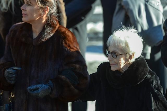 Mireille Deyglun et sa mère Janine Sutto lors des funérailles de René Angelil, célébrées ce vendredi après-midi 22 janvier 2016, à la Basilique Notre-Dame, à Montréal.