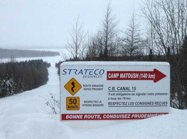 Projet Matoush de mine d'uranium, de la société Ressources Strateco, à 275 km au nord de chibougamau.