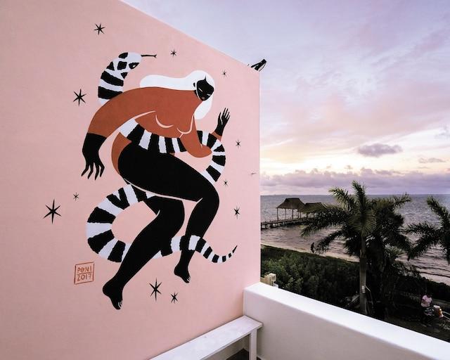 <b><i>Vivan las Mujeres</i></b><br /> <b>Artiste du Mexique</b><br /> Des personnages en noirs et blancs, contre-balancés par une enveloppe minimaliste de faune et de flore colorée. Œuvre de Hilda Palafox, aussi appelée Poni, une des femmes artistes les plus réputées d'Amérique du Sud.
