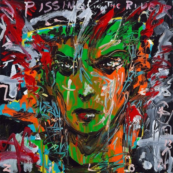 "Little Greeny, 36"" x 36"", acrylique sur toile."