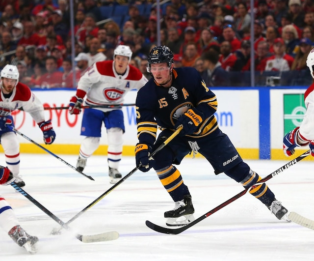 BUFFALO, NY - MARCH 23: Jack Eichel #15 of the Buffalo Sabres skates with the puck in the Montreal Canadiens zone during the second period at KeyBank Center on March 23, 2018 in Buffalo, New York.   Kevin Hoffman/Getty Images/AFP == FOR NEWSPAPERS, INTERNET, TELCOS & TELEVISION USE ONLY ==