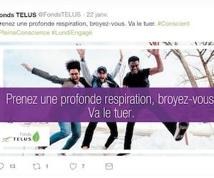 L'image du haut a été publiée sur le compte Twitter de Telus Funds le 22janvier. Une traduction française inappropriée (en bas)a ensuite été publiée par le Fonds Telus.