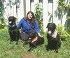 Les trois labradors noirs de Gulnara Jacome-Munoz, Luna (à gauche), Awqa (au centre) et Onyxia, sont menacés d'euthanasie par la Ville de Montréal. Les chiennes sont soupçonnées d'avoir mordu un homme lors d'un incident survenu au mois de mai.