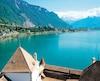 Vue sur le lac Léman et les Alpes du donjon du château de Chillon